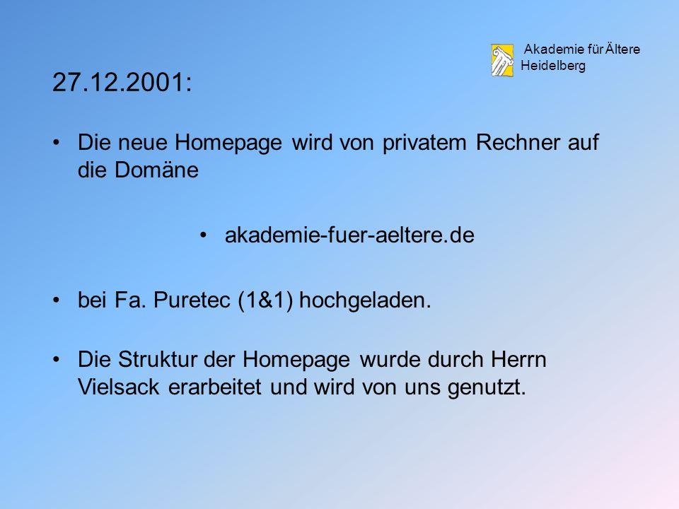 27.12.2001: Die neue Homepage wird von privatem Rechner auf die Domäne