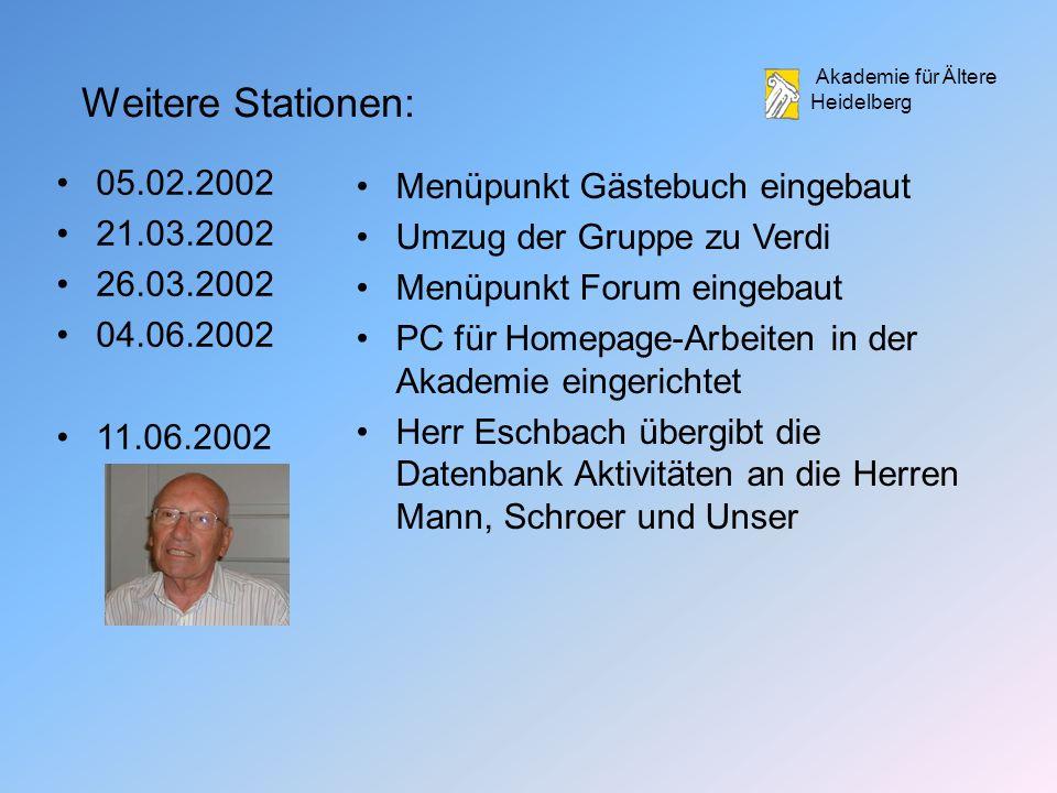 Weitere Stationen: 05.02.2002 Menüpunkt Gästebuch eingebaut 21.03.2002