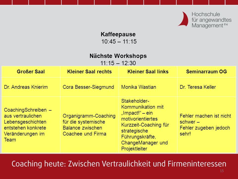 Kaffeepause 10:45 – 11:15 Nächste Workshops 11:15 – 12:30 Großer Saal