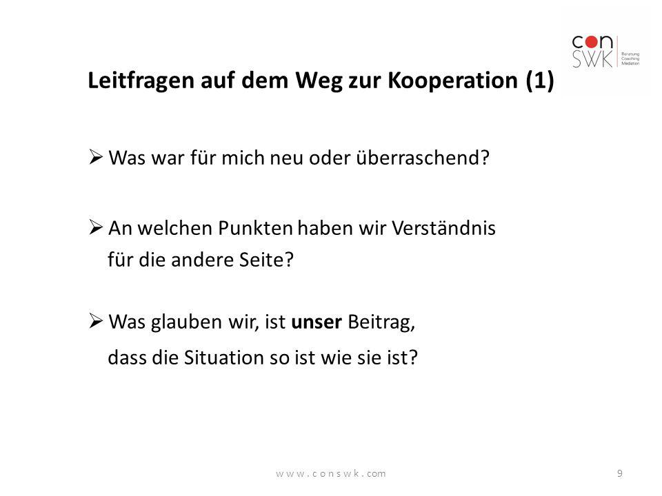 Leitfragen auf dem Weg zur Kooperation (1)
