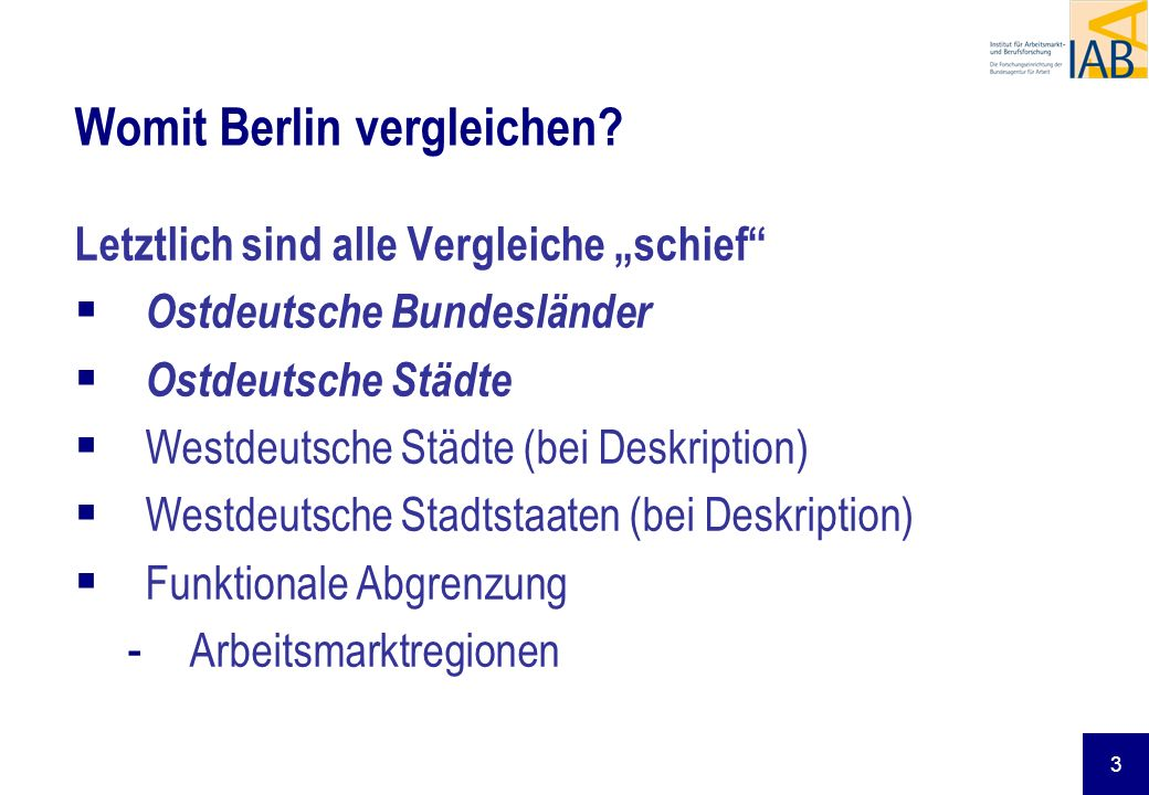 Womit Berlin vergleichen
