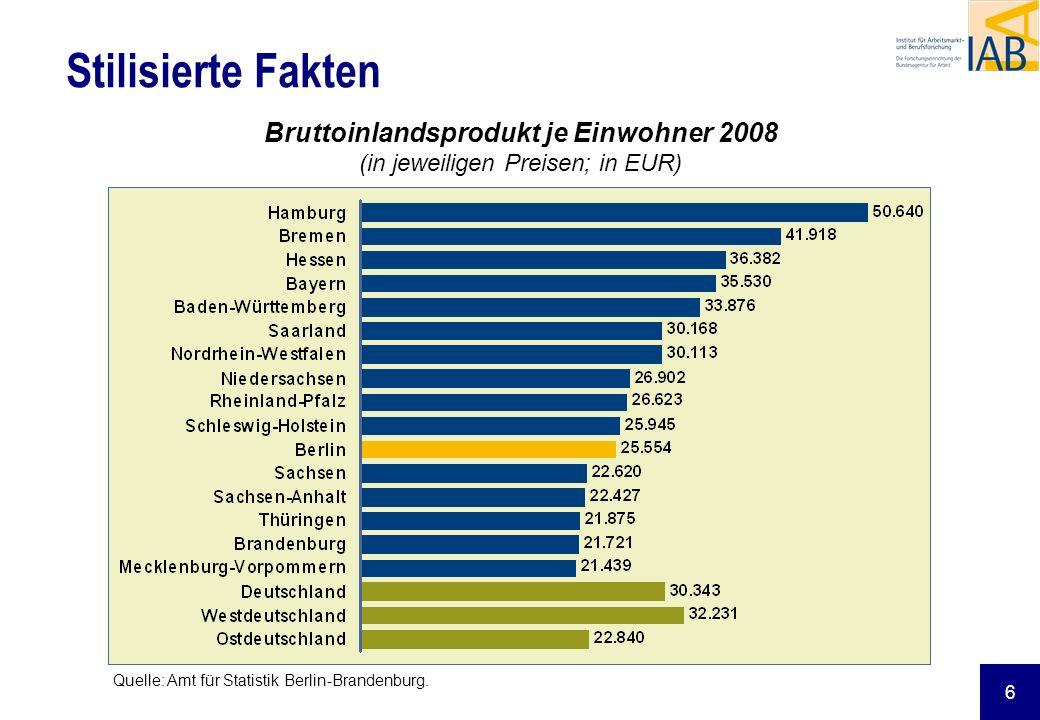 Bruttoinlandsprodukt je Einwohner 2008 (in jeweiligen Preisen; in EUR)