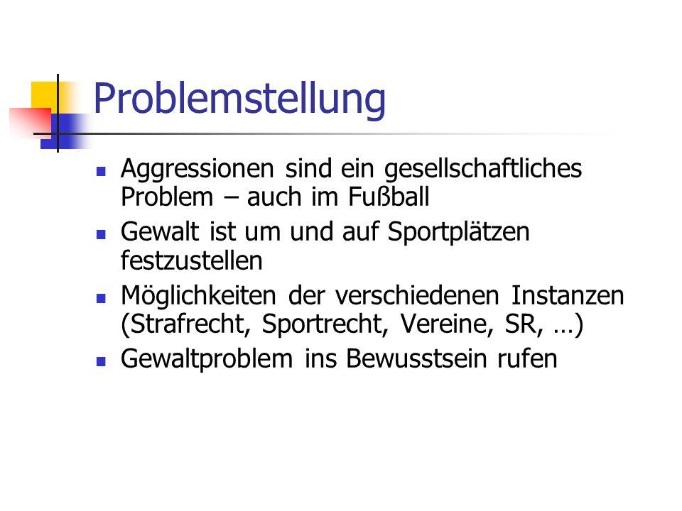 Problemstellung Aggressionen sind ein gesellschaftliches Problem – auch im Fußball. Gewalt ist um und auf Sportplätzen festzustellen.