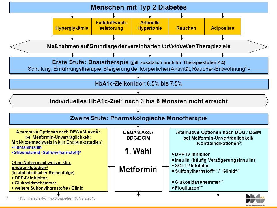 1. Wahl Metformin Menschen mit Typ 2 Diabetes