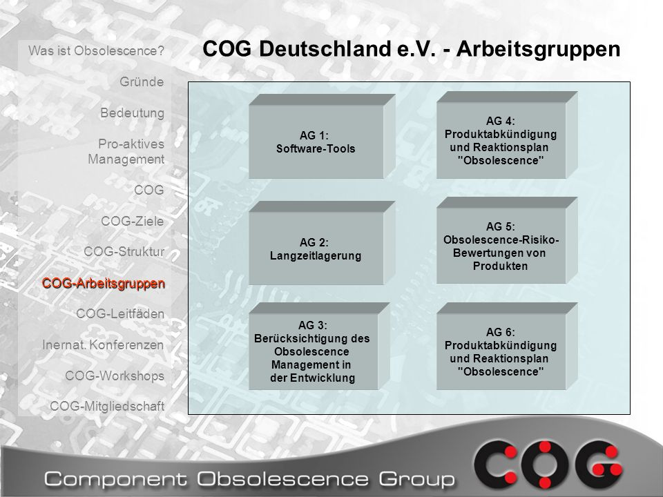 COG Deutschland e.V. - Arbeitsgruppen