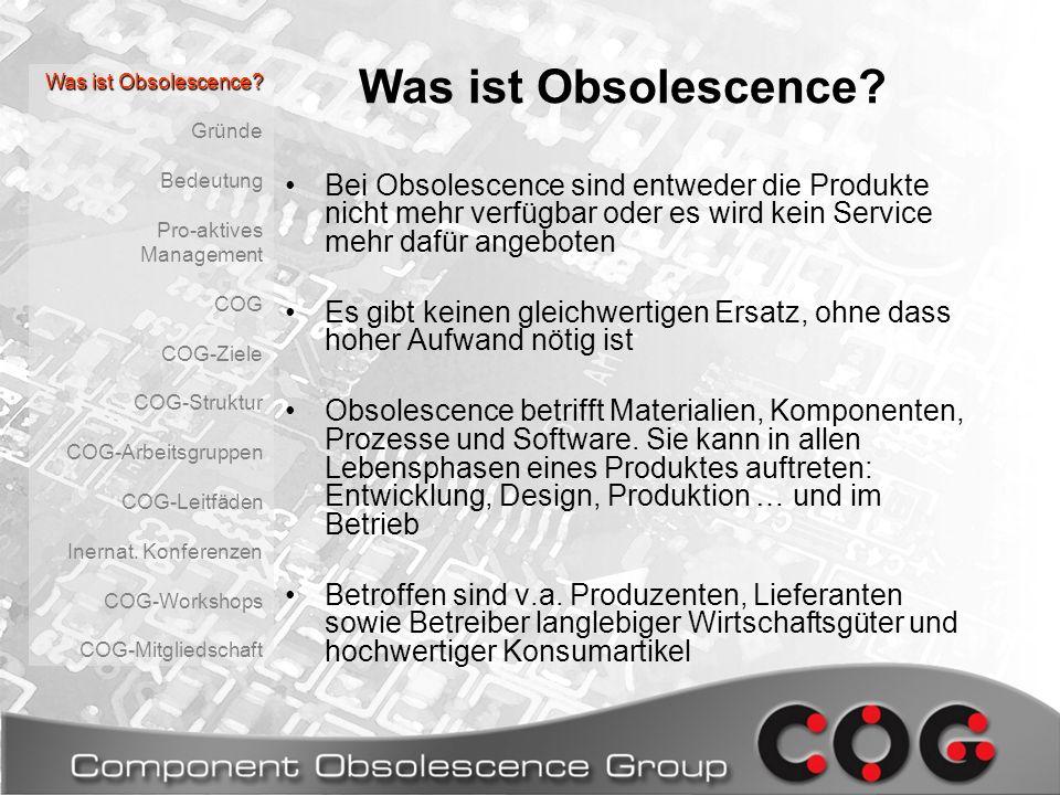 Was ist Obsolescence Was ist Obsolescence Gründe. Bedeutung. Pro-aktives Management. COG. COG-Ziele.