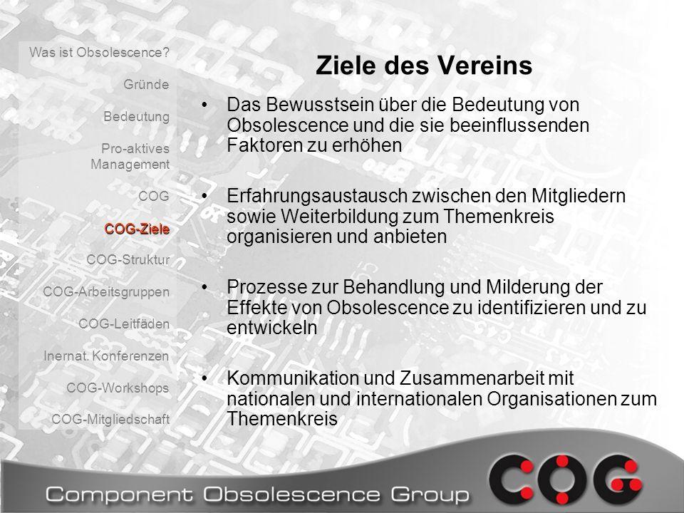 Was ist Obsolescence Gründe. Bedeutung. Pro-aktives Management. COG. COG-Ziele. COG-Struktur.