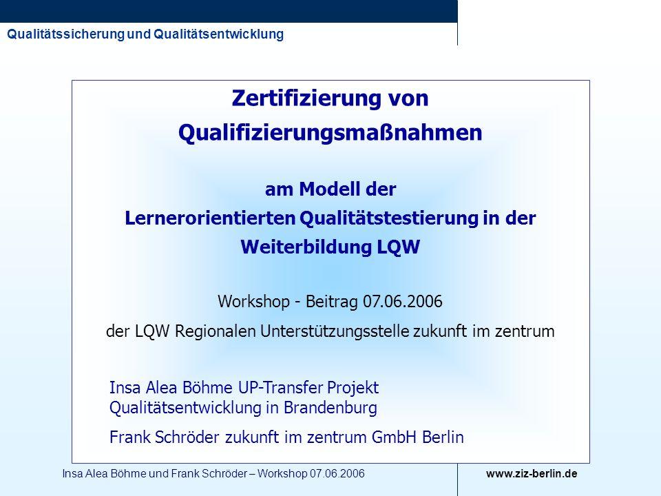 der LQW Regionalen Unterstützungsstelle zukunft im zentrum