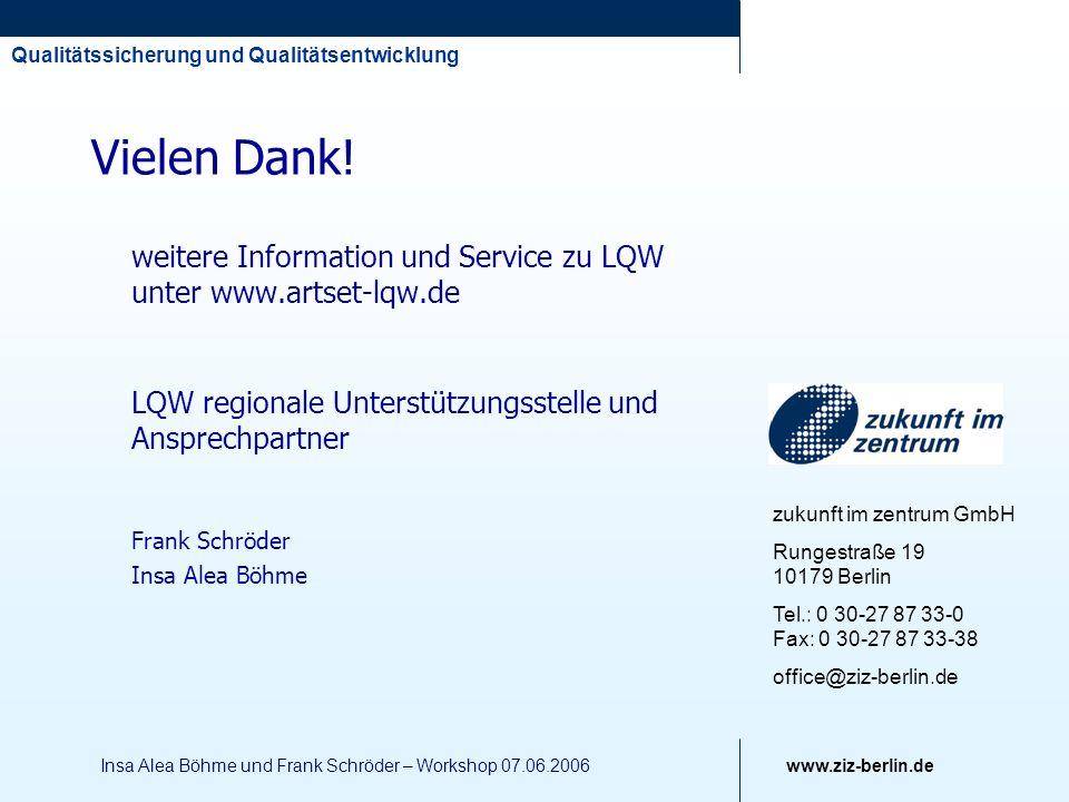 Vielen Dank! weitere Information und Service zu LQW unter www.artset-lqw.de. LQW regionale Unterstützungsstelle und Ansprechpartner.
