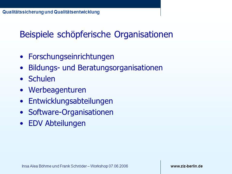 Beispiele schöpferische Organisationen