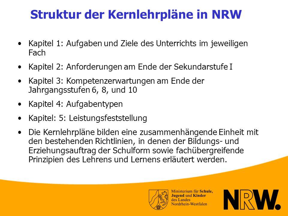 Struktur der Kernlehrpläne in NRW