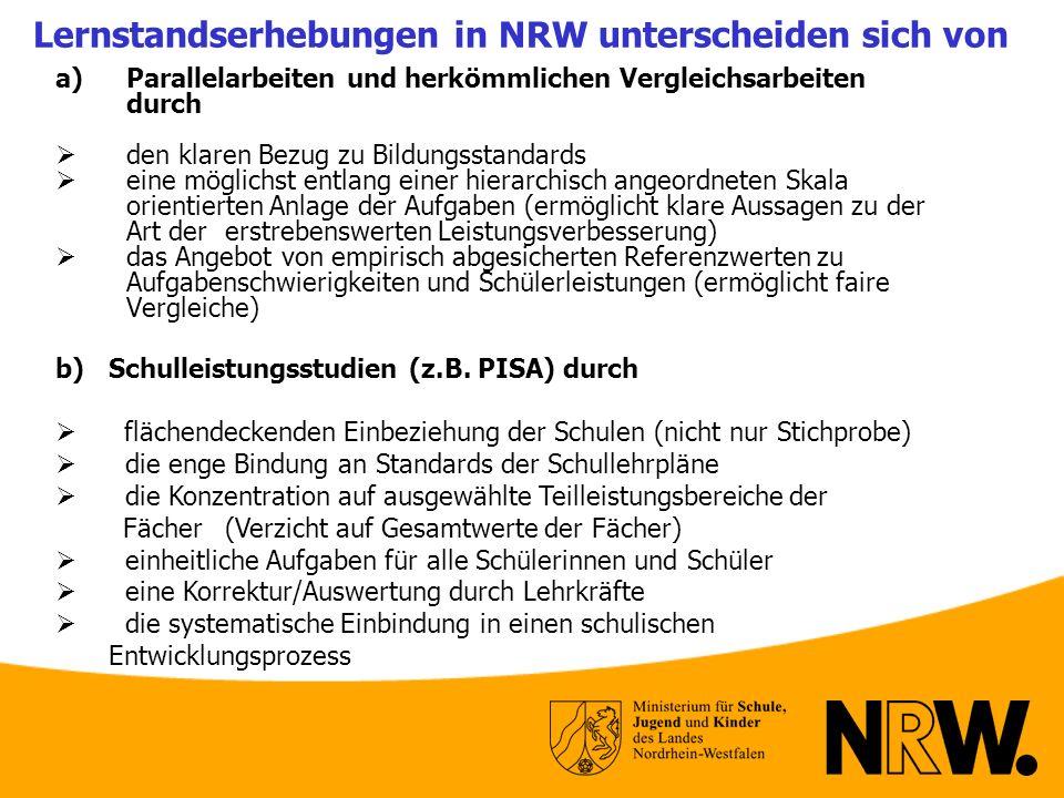 Lernstandserhebungen in NRW unterscheiden sich von