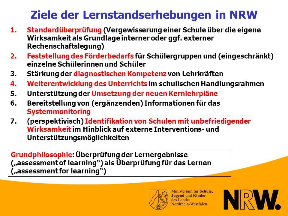 Ziele der Lernstandserhebungen in NRW