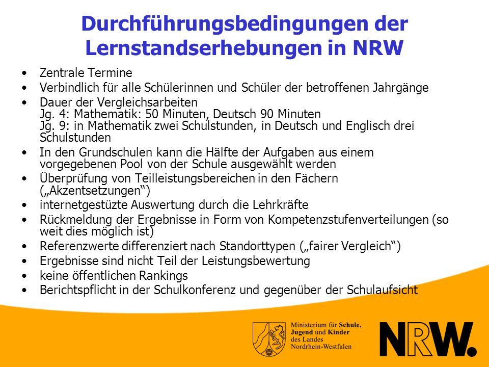 Durchführungsbedingungen der Lernstandserhebungen in NRW