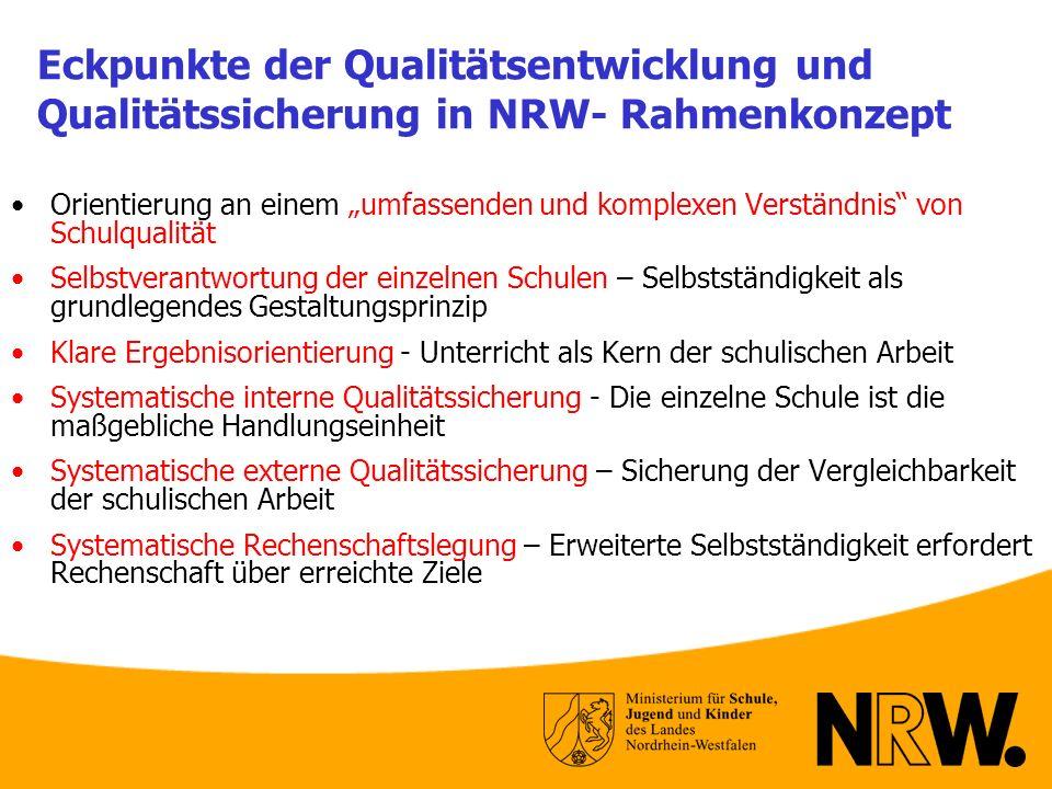 Eckpunkte der Qualitätsentwicklung und Qualitätssicherung in NRW- Rahmenkonzept