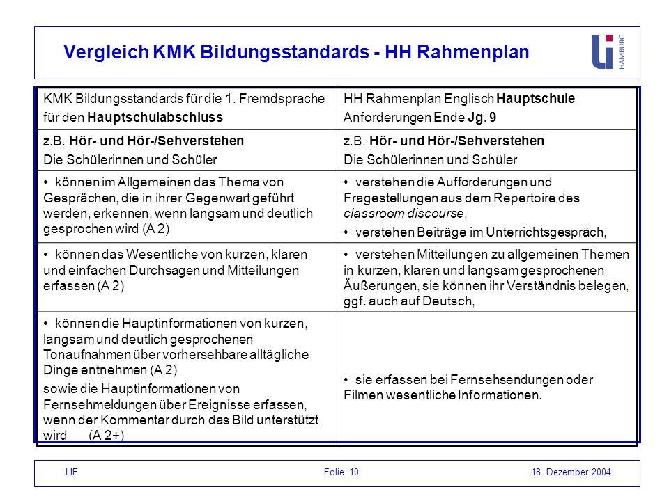 Vergleich KMK Bildungsstandards - HH Rahmenplan