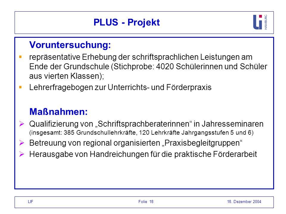 PLUS - Projekt Voruntersuchung: