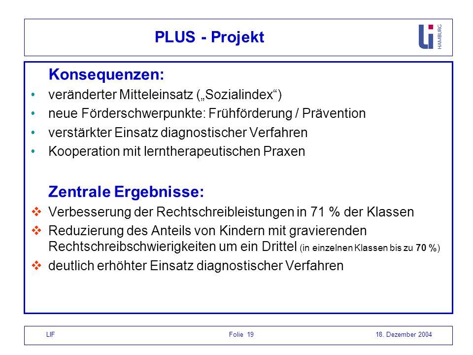 PLUS - Projekt Konsequenzen: Zentrale Ergebnisse: