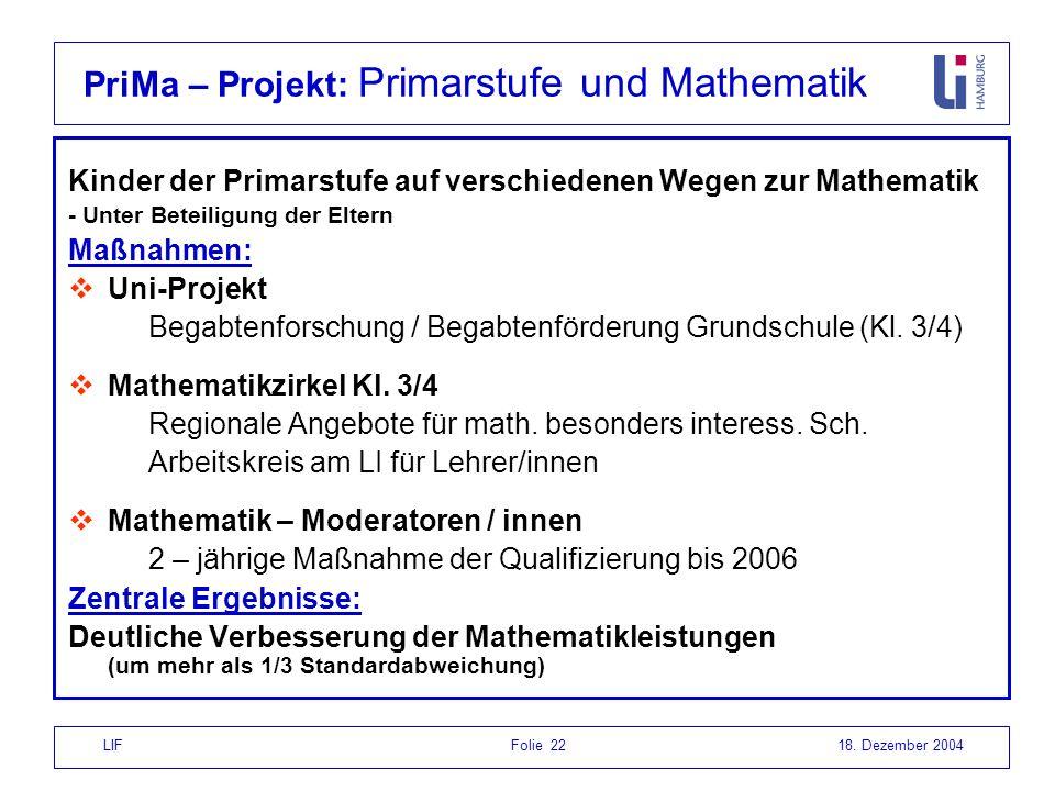 PriMa – Projekt: Primarstufe und Mathematik