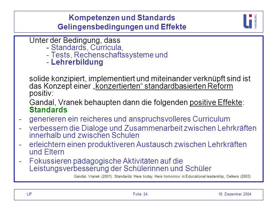 Kompetenzen und Standards Gelingensbedingungen und Effekte