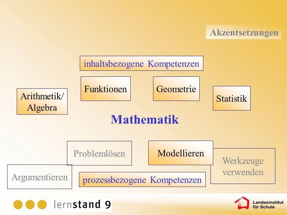 Mathematik Akzentsetzungen inhaltsbezogene Kompetenzen Arithmetik/