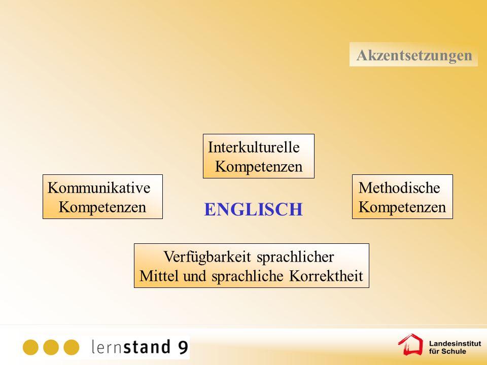ENGLISCH Akzentsetzungen Interkulturelle Kompetenzen