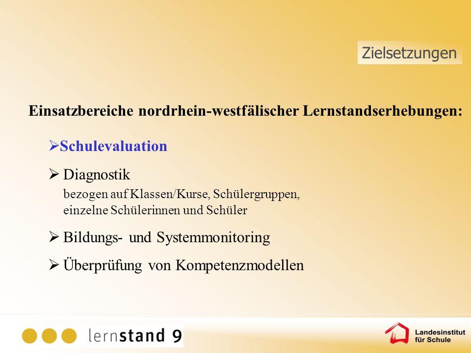 Einsatzbereiche nordrhein-westfälischer Lernstandserhebungen: