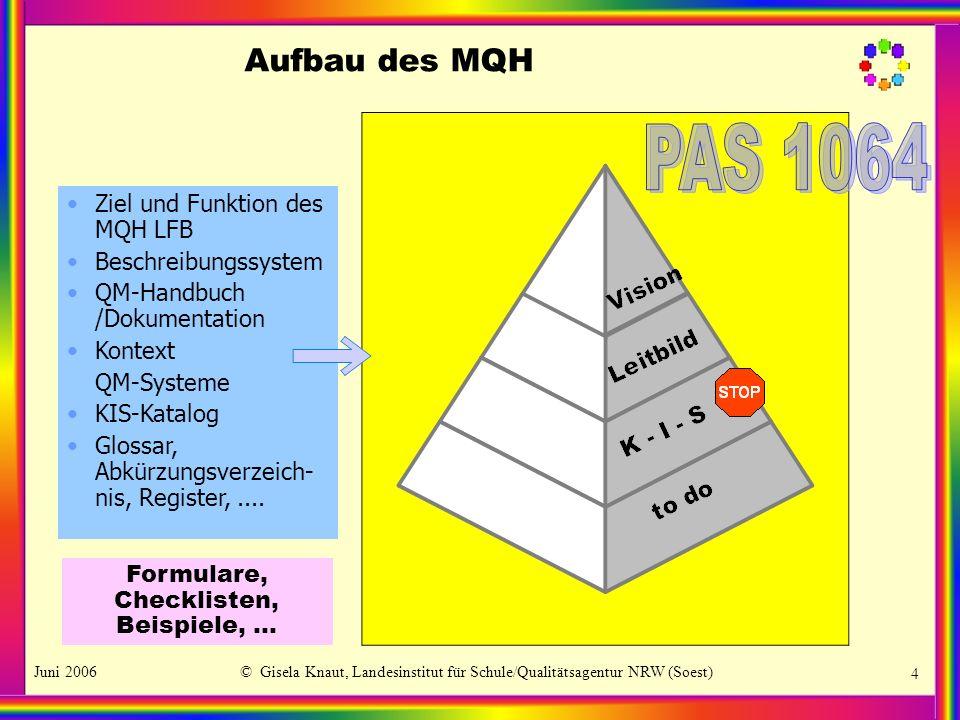 PAS 1064 Aufbau des MQH Ziel und Funktion des MQH LFB
