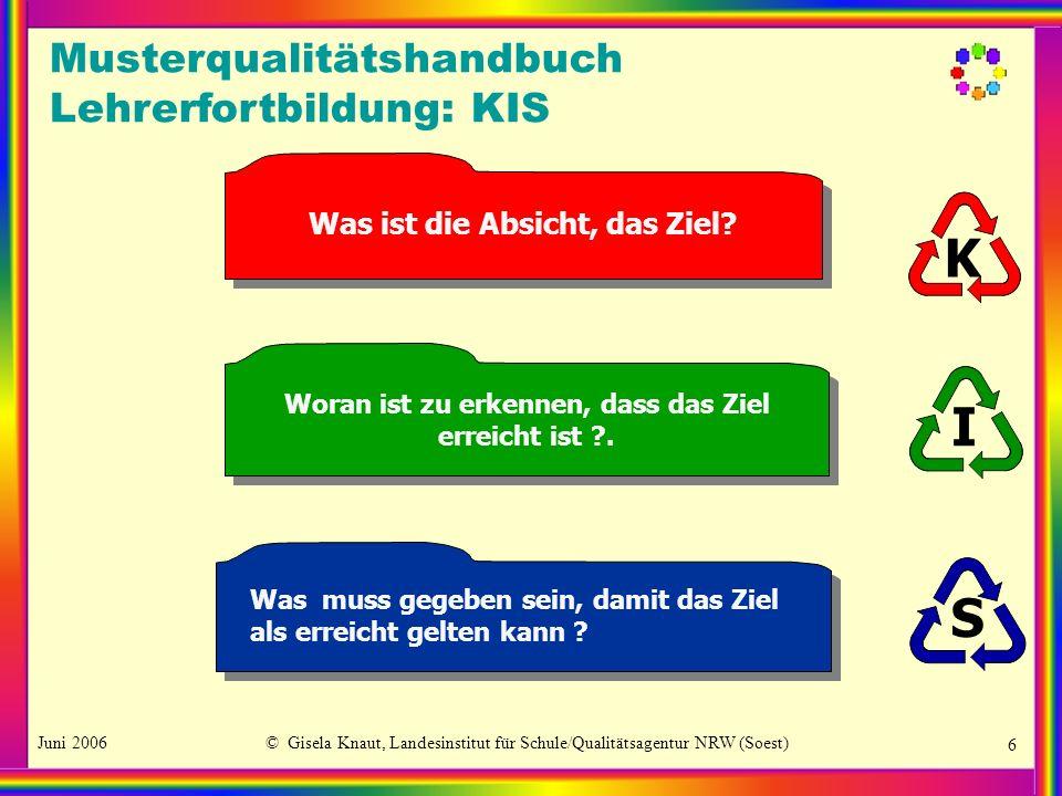 K I S Musterqualitätshandbuch Lehrerfortbildung: KIS