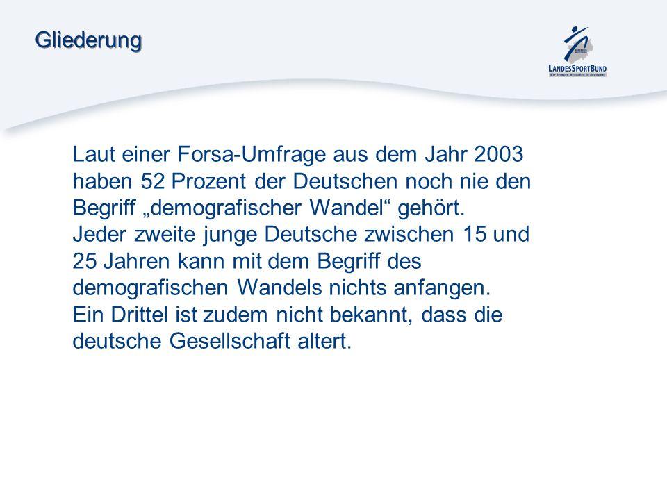 """GliederungLaut einer Forsa-Umfrage aus dem Jahr 2003 haben 52 Prozent der Deutschen noch nie den Begriff """"demografischer Wandel gehört."""