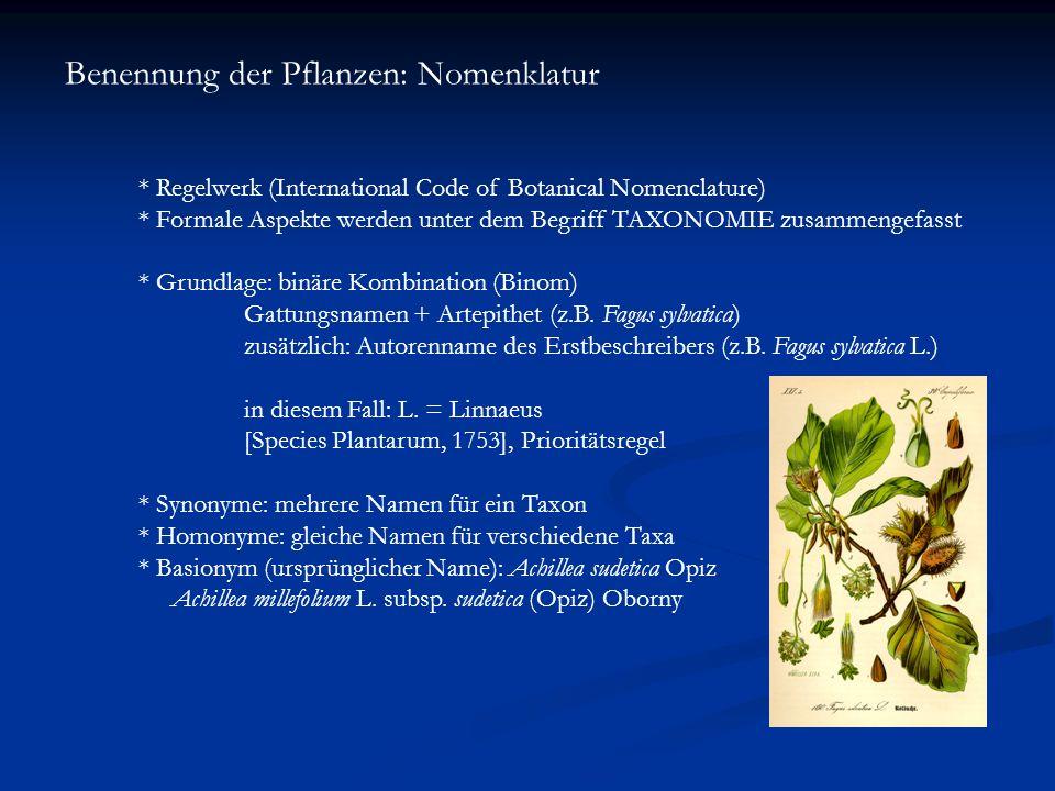 Benennung der Pflanzen: Nomenklatur