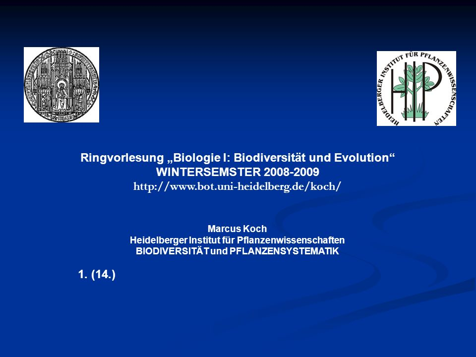 """Ringvorlesung """"Biologie I: Biodiversität und Evolution"""