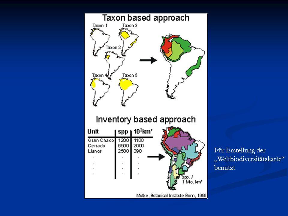 """Für Erstellung der """"Weltbiodiversitätskarte benutzt"""