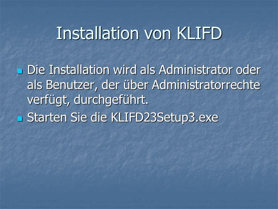 Installation von KLIFD