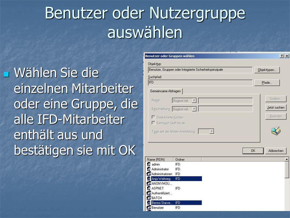 Benutzer oder Nutzergruppe auswählen