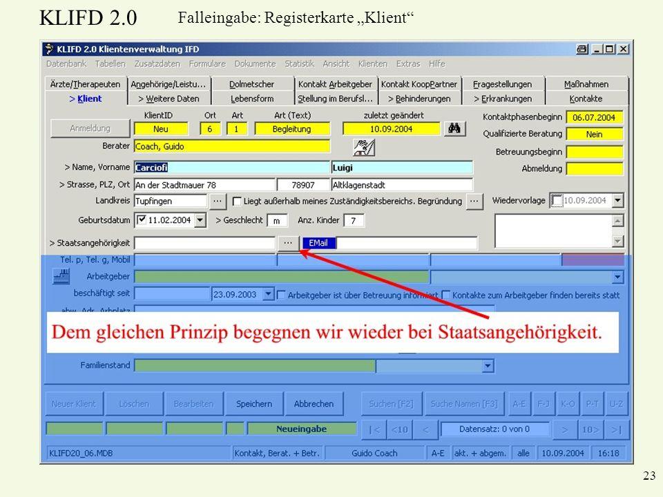 """Falleingabe: Registerkarte """"Klient"""