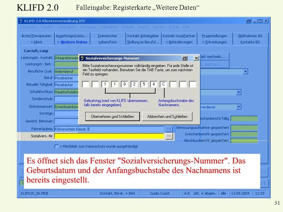 """Falleingabe: Registerkarte """"Weitere Daten"""