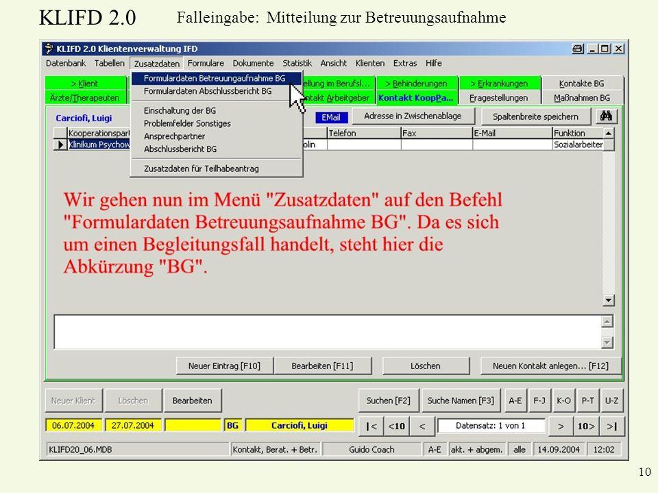 Falleingabe: Mitteilung zur Betreuungsaufnahme