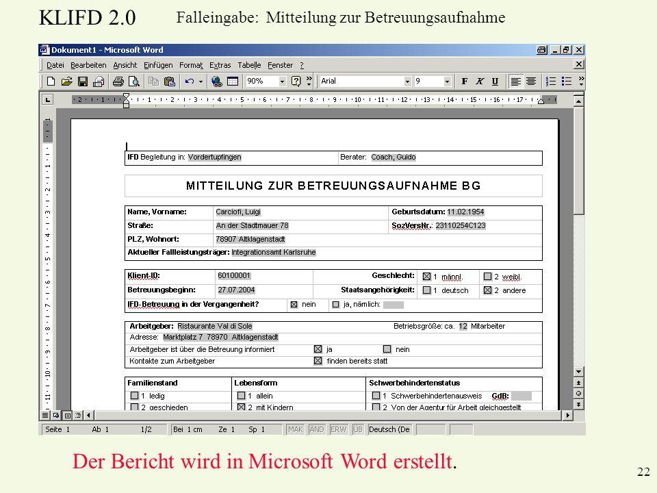 Der Bericht wird in Microsoft Word erstellt.