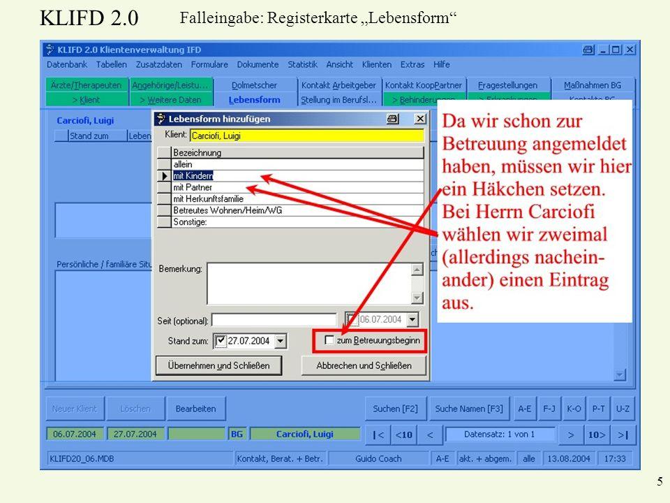 "Falleingabe: Registerkarte ""Lebensform"