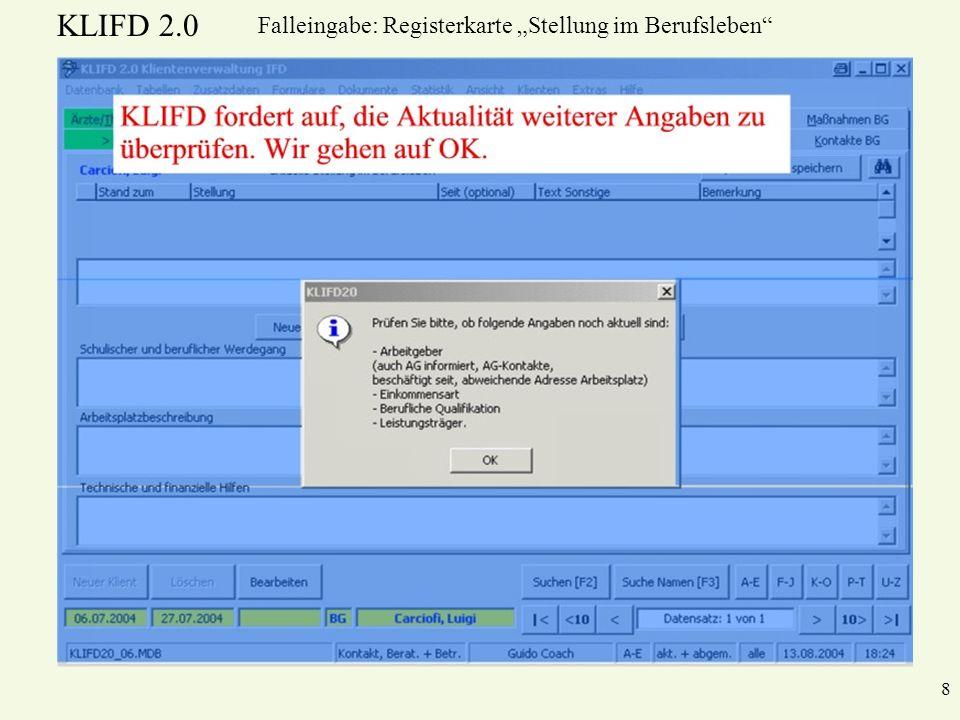 """Falleingabe: Registerkarte """"Stellung im Berufsleben"""