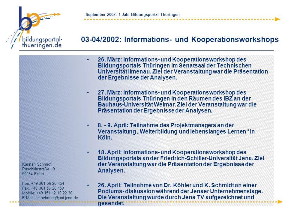 03-04/2002: Informations- und Kooperationsworkshops