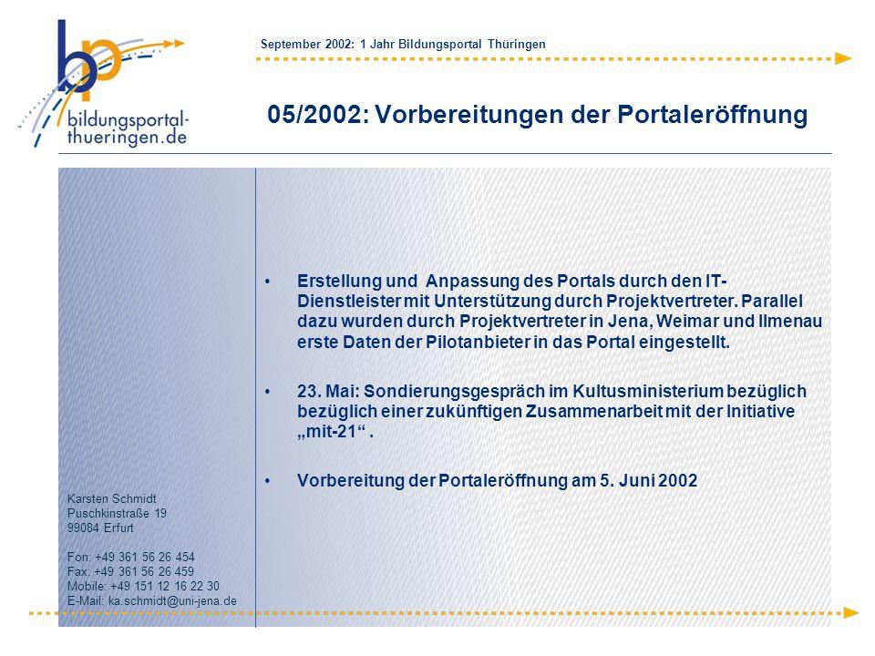 05/2002: Vorbereitungen der Portaleröffnung