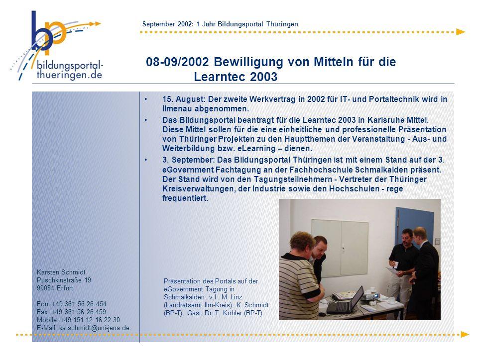 08-09/2002 Bewilligung von Mitteln für die Learntec 2003