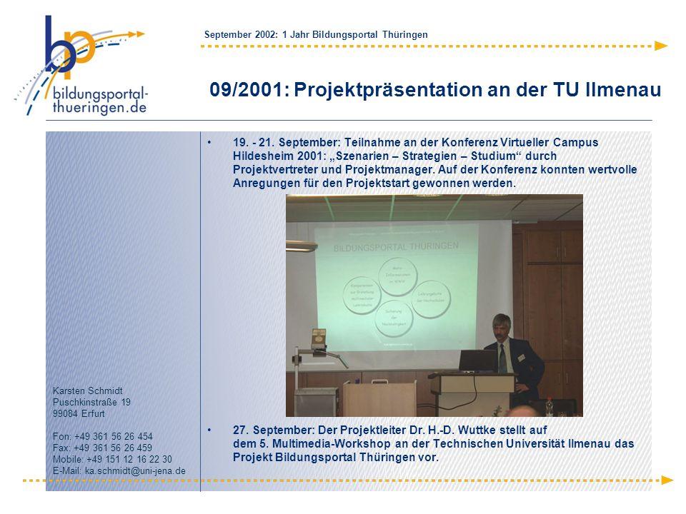 09/2001: Projektpräsentation an der TU Ilmenau