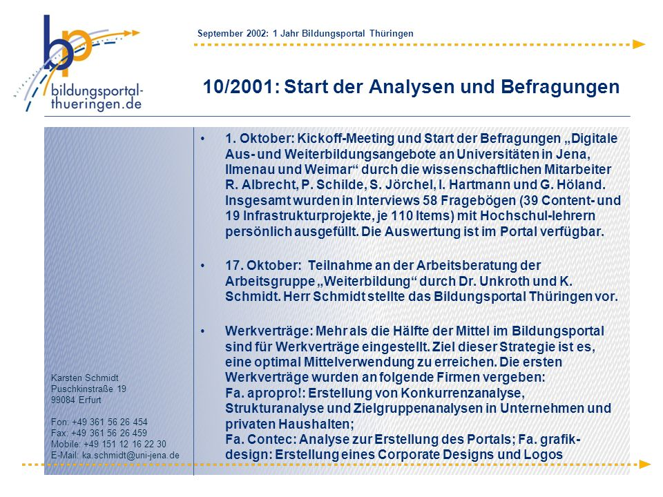 10/2001: Start der Analysen und Befragungen