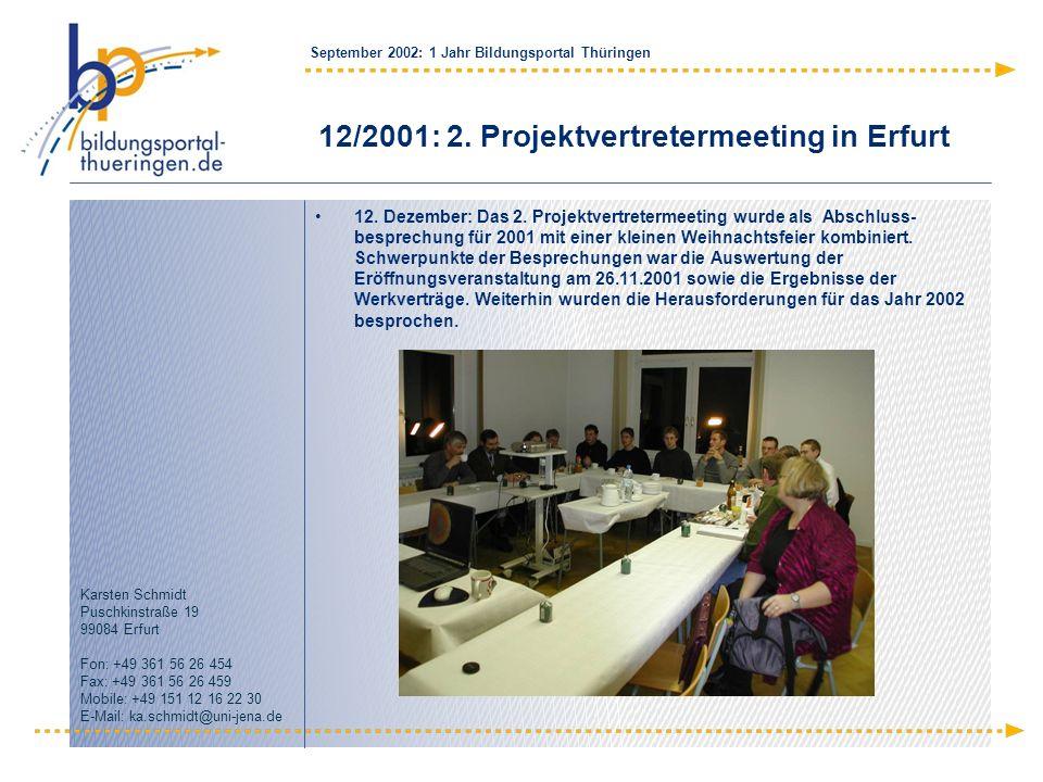 12/2001: 2. Projektvertretermeeting in Erfurt