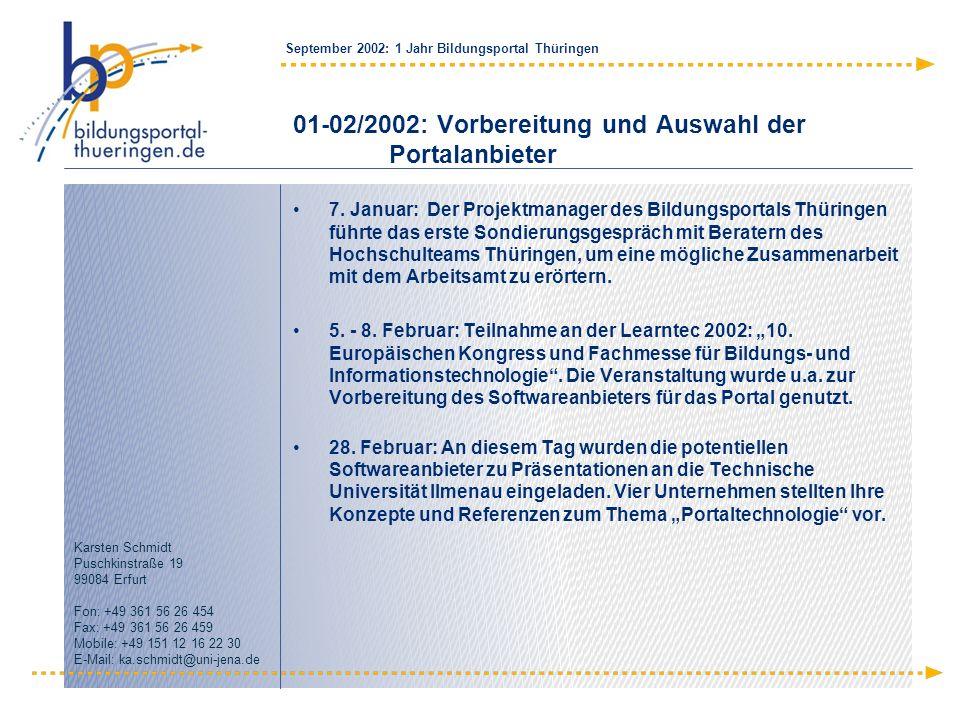 01-02/2002: Vorbereitung und Auswahl der Portalanbieter