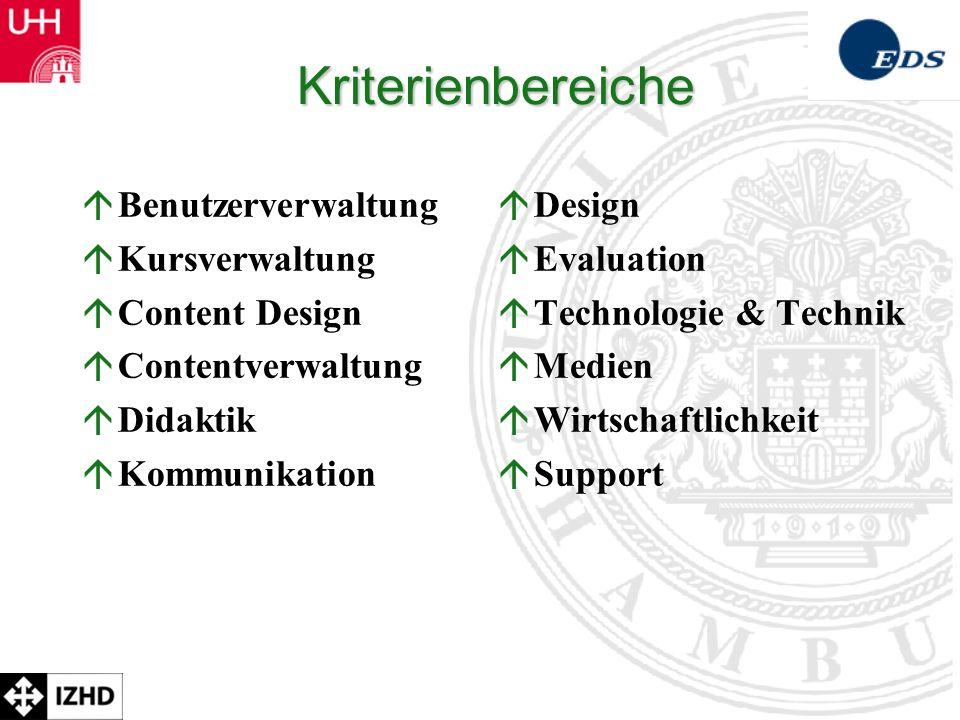 Kriterienbereiche Benutzerverwaltung Kursverwaltung Content Design