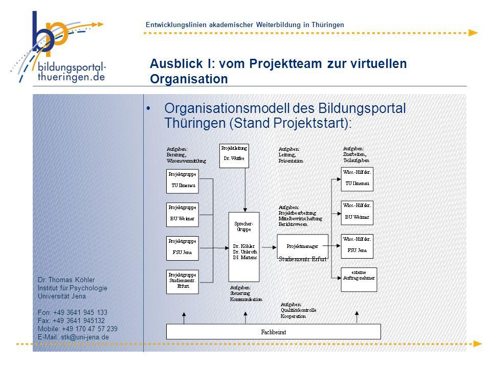 Ausblick I: vom Projektteam zur virtuellen Organisation